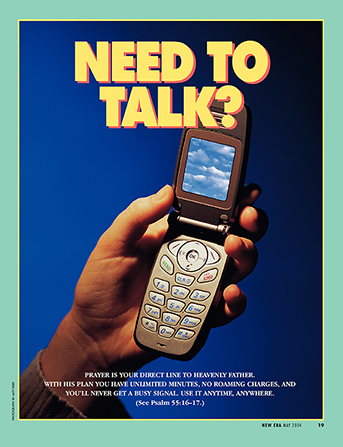 "A conceptual photograph showing a cell phone with a picture of a clouded sky on it, paired with the words ""Need to Talk?"""