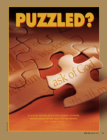 "A conceptual photograph of a puzzle of James 1:5 with the words ""ask of God"" being added to it, paired with the word ""Puzzled?"""