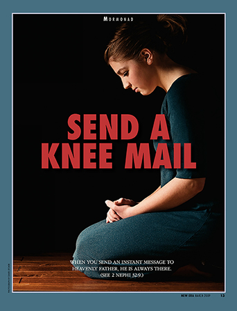 "A poster showing a young woman kneeling to pray with the words ""Send a Knee Mail"" in the center."