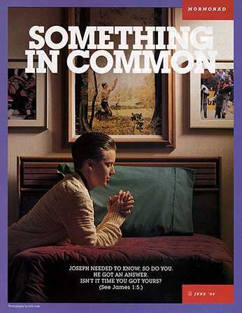 "A poster showing a young man praying next to a picture of the First Vision, paired with the words ""Something in Common."""