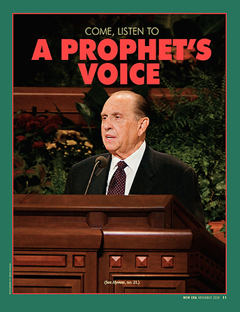 "A poster of President Monson speaking in general conference, paired with the words ""Come, Listen to a Prophet's Voice."""