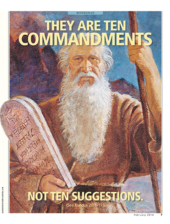 "A painting of Moses holding stone tablets, paired with the words ""They Are Ten Commandments, Not Ten Suggestions."""