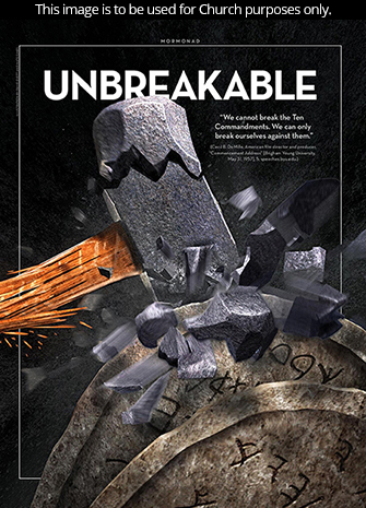 """A conceptual photograph of a sledgehammer shattering while trying to break two stone tablets, paired with the word """"Unbreakable."""""""