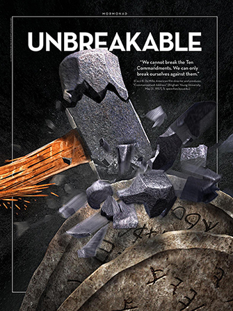 "A conceptual photograph of a sledgehammer shattering while trying to break two stone tablets, paired with the word ""Unbreakable."""