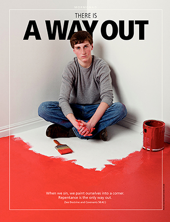 "A poster showing a young man painted into a corner, paired with the words ""There Is a Way Out."""