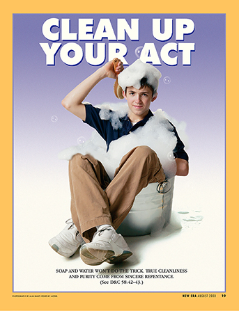 "A conceptual photograph of a young man sitting in a small metal tub in his clothes and scrubbing with bubbles, paired with the words ""Clean Up Your Act."""