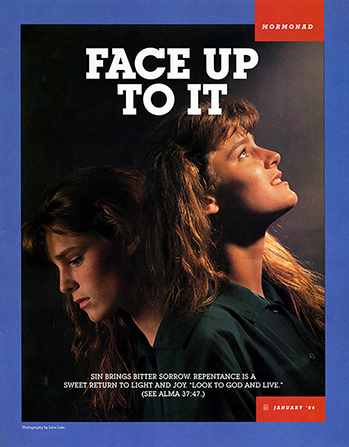 "A conceptual photograph showing two versions of a young woman, one looking down and the other up, paired with the words ""Face Up to It."""
