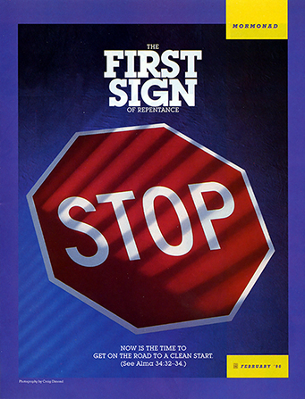 "A poster with a stop sign and the words ""The First Sign of Repentance."""