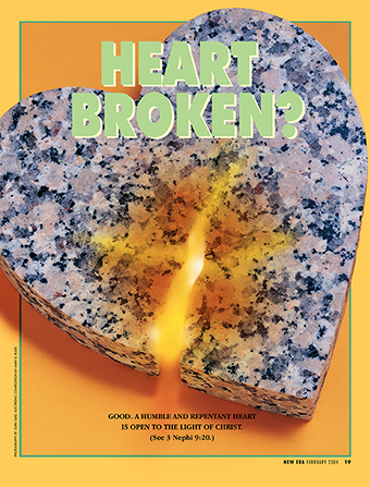 "A conceptual photograph showing a granite slab fashioned into a heart with a crack in it, paired with the words ""Heart Broken?"""
