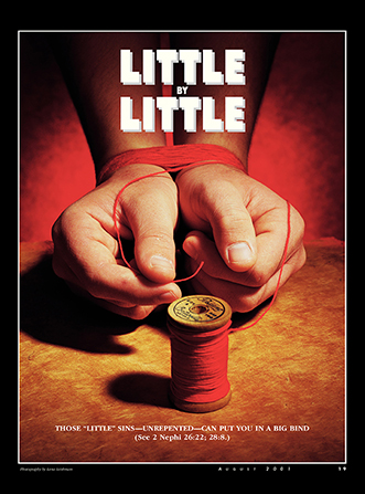 "A conceptual photograph showing two hands bound with a red string, paired with the words ""Little by Little."""