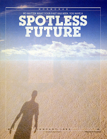 "A conceptual photograph showing a young man's shadow cast on clean sand, with the words ""Spotless Future"" emphasized."