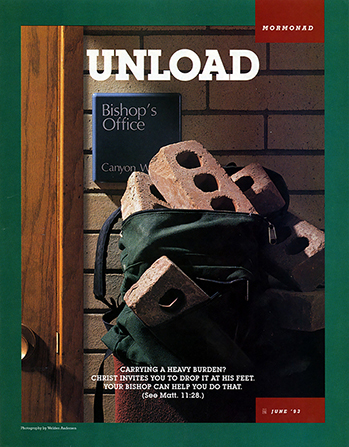"A conceptual photograph showing a backpack full of bricks sitting outside of a bishop's office, paired with the word ""Unload."""