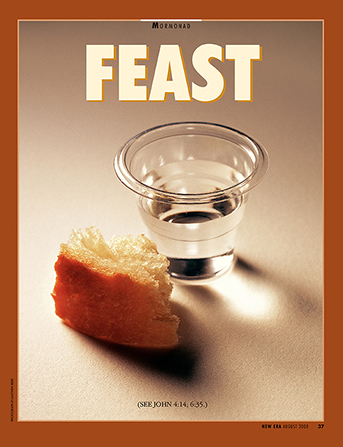 "A conceptual photograph of a sacrament cup of water and a piece of bread, paired with the word ""Feast."""