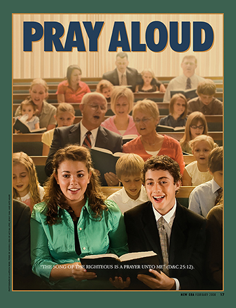 "A poster showing a congregation singing a hymn, paired with the words ""Pray Aloud."""