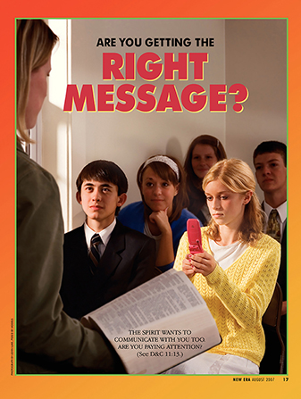"A poster of a young woman texting on a cell phone during a Sunday School lesson, paired with the words, ""Are You Getting the Right Message?"""