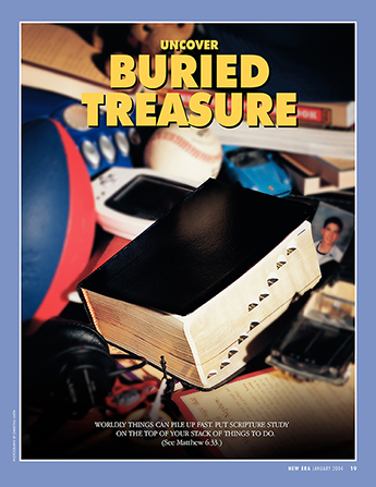 "A set of scriptures lying on top of a pile of other activities, paired with the words ""Uncover Buried Treasure."""