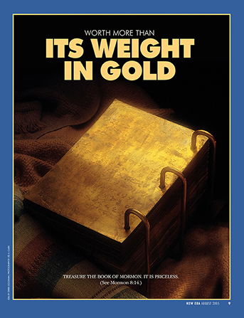 "A poster showing the golden plates, paired with the words ""Worth More Than Its Weight in Gold."""
