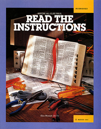 "A poster of a set of scriptures surrounded by various tools, with the words ""Read the Instructions"" emphasized."