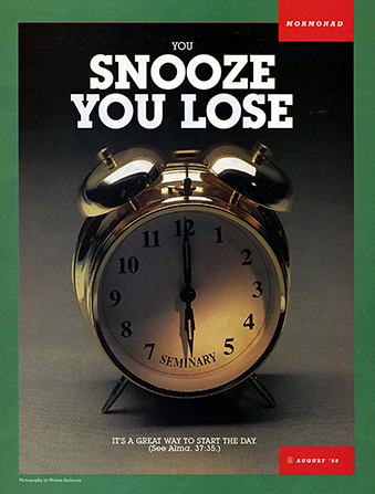 "A conceptual photograph of an alarm clock with the word ""Seminary"" on it, paired with the words ""You Snooze, You Lose."""