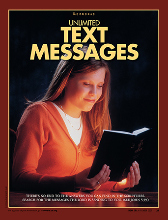 "A poster showing a young woman reading the Book of Mormon, paired with the words ""Unlimited Text Messages."""