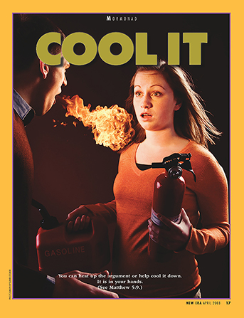 "A conceptual photograph of a young man with flames coming out of his mouth and a young woman holding a fire extinguisher and a can of gasoline, paired with the words ""Cool It."""