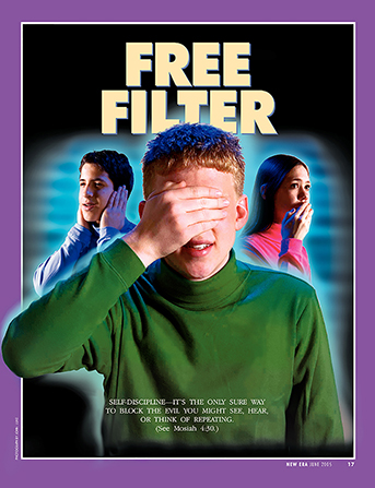"A conceptual photograph showing three youth covering their eyes, ears, and mouth, paired with the words ""Free Filter."""
