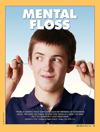 "A conceptual photograph of a young man pulling floss through both ears, paired with the words ""Mental Floss."""