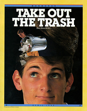 "A conceptual photograph of a young man whose head has opened to clear out a bin of trash, paired with the words ""Take Out the Trash."""