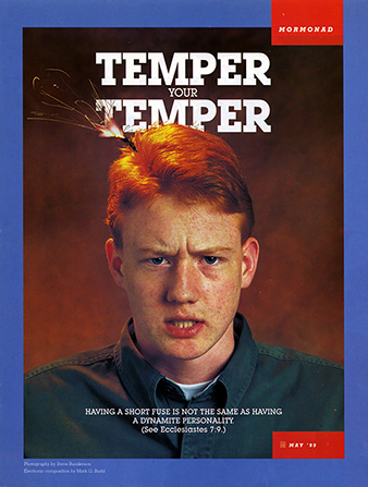 "A poster showing a young man whose head has a burning fuse, paired with the words ""Temper Your Temper."""