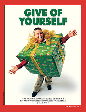 "A conceptual photograph of a young man inside of a large, wrapped Christmas gift, paired with the words ""Give of Yourself."""