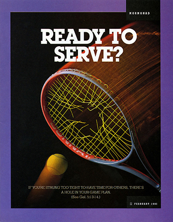 "A conceptual photograph of a tennis ball going through a ripped tennis racket, paired with the words ""Ready to Serve?"""
