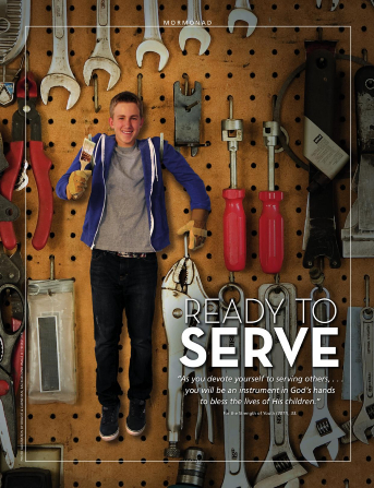 "A conceptual photograph of a young man hanging by his arms on a tool board and holding a paintbrush, paired with the words ""Ready to Serve."""
