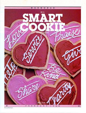 "A conceptual photograph of heart-shaped cookies frosted with words like ""Service"" and ""Share,"" paired with the words ""Be a Smart Cookie."""