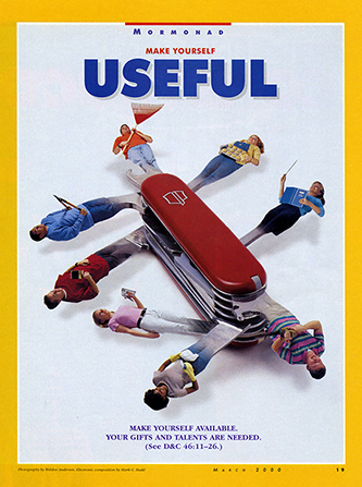 "A conceptual photograph of some youth acting as tools on a Swiss army knife, paired with the words, ""Make Yourself Useful."""
