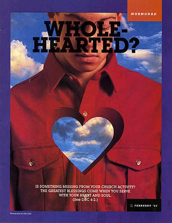 "A conceptual photograph showing a young man with a heart-shaped hole in his chest, paired with the word ""Wholehearted?"""