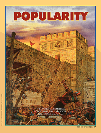 "A poster of Samuel the Lamanite standing on a wall and being shot at by arrows, paired with the word ""Popularity."""