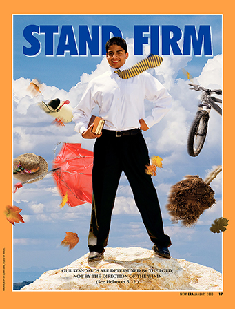 "A conceptual photo of objects flying around a young man standing on a rock, paired with the words ""Stand Firm."""