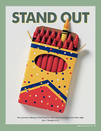 "An image of a box of red crayons with one yellow crayon sticking out from the rest, paired with the words ""Stand Out."""