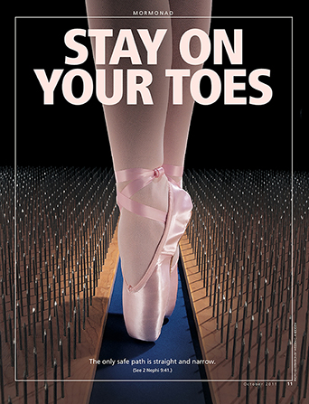 "A conceptual photo of a ballerina walking on her toes down a narrow path with nails on each side, paired with the words ""Stay on Your Toes."""