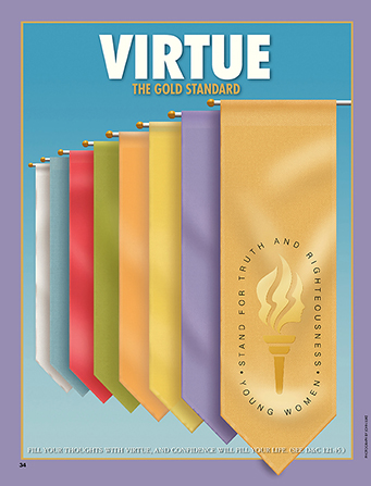 """A photograph of a gold banner in front of other banners representing the Young Women values, paired with the words """"Virtue—the Gold Standard."""""""