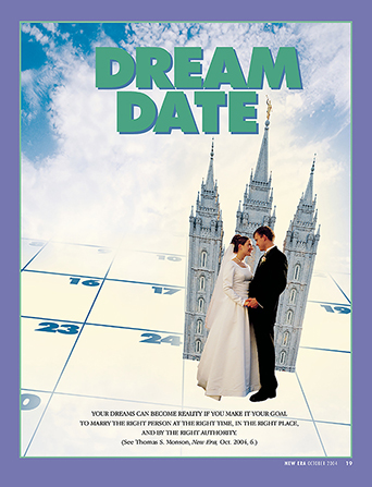 "A conceptual photograph of a bride and groom standing on a calendar in front of a temple, paired with the words ""Dream Date."""