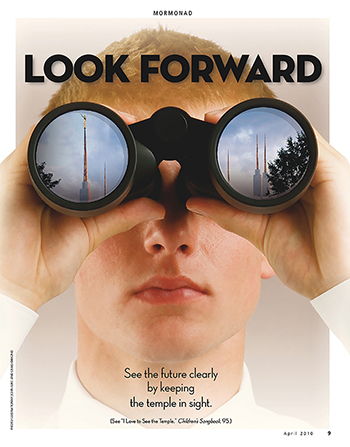 "An image of a young man looking into binoculars and seeing temple spires, paired with the words ""Look Forward."""