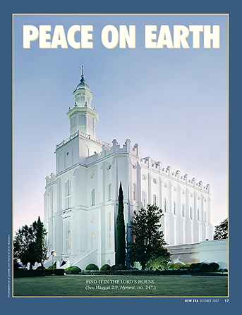 "A photograph of the side of the St. George Utah Temple, paired with the words ""Peace on Earth."""