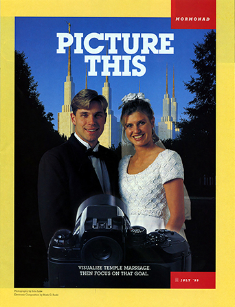 """A poster of a camera taking a picture of a bride and groom in front of a temple, paired with the words """"Picture This."""""""