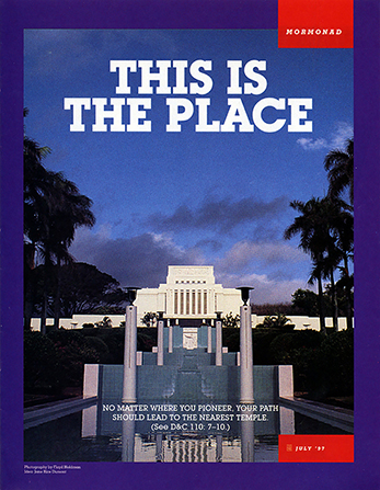 "A poster of the Laie Hawaii Temple at night, paired with the words ""This Is the Place."""