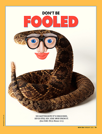 "A conceptual image of a rattlesnake wearing a human face mask, paired with the words ""Don't Be Fooled."""