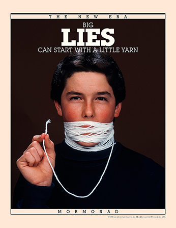 "An image of a young man with white yarn wrapped around his mouth many times, paired with the words ""Big Lies Can Start with a Little Yarn."""