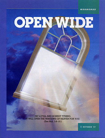 "An image of light shining through a glass windowpane amid the dark night sky, paired with the words ""Open Wide."""