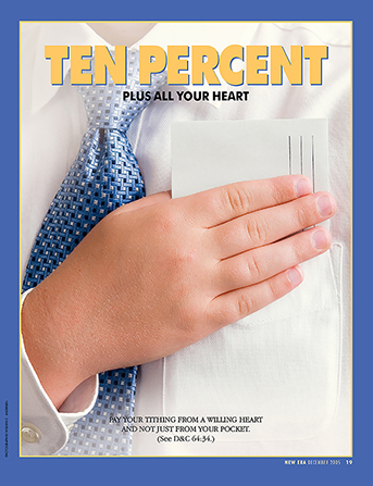 "An image of a young man placing a tithing envelope inside his front pocket, paired with the words ""Ten Percent Plus All Your Heart."""
