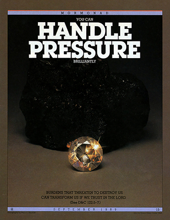 "A conceptual photograph of a large chunk of coal next to a sparkling diamond, paired with the words ""You Can Handle Pressure Brilliantly."""